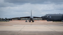 A B-52H Stratofortress taxis down the flight line during Global Thunder 21 at Barksdale Air Force Base, La., Oct. 23, 2020. The ability to credibly convey the readiness and lethality of our forces is a key component of strategic deterrence. (U.S. Air Force photo by Senior Airman Lillian Miller)
