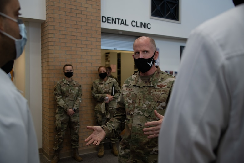 Vice Chief of Staff of the Air Force Gen. Stephen W. Wilson expresses his gratitude to medical personnel during a visit to the 42nd Medical Group, Oct. 22, 2020, Maxwell Air Force Base, Alabama. Wilson visited various offices within the 42 MDG to meet and personally thank the medical personnel for their dedication to their service throughout the pandemic. (U.S. Air Force photo by Airman 1st Class Jackson Manske)