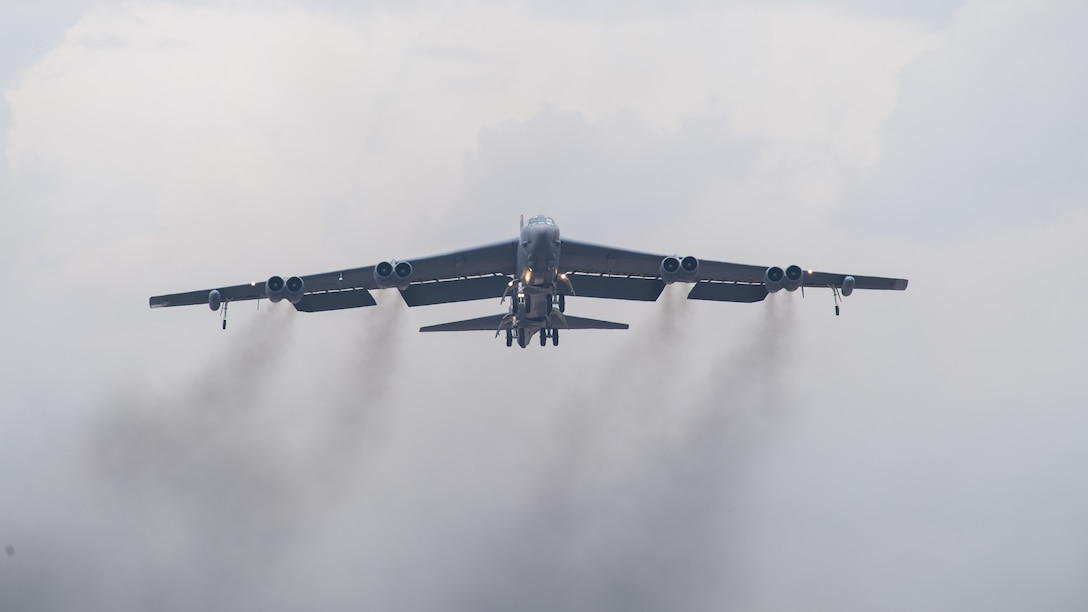 A B-52H Stratofortress takes off from Barksdale Air Force Base, La., during Global Thunder 21 Oct. 23, 2020. U.S. Strategic Command's fundamental mission is to deter, detect and prevent strategic attack against the United States, our allies and partners.  (U.S. Air Force photo by Senior Airman Tessa B. Corrick)