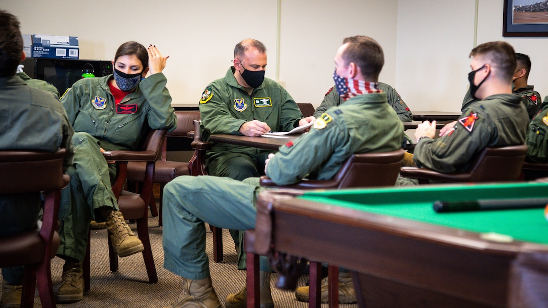 Aircrew from the 2nd Bomb Wing complete a test in preparation for Global Thunder 21 at Barksdale Air Force Base, La., Oct. 23, 2020. Training with allied nations and partner organizations contributes to enhanced integration and interoperability and enables us to build enduring relationships necessary to confront the broad range of global challenges. (U.S. Air Force photo by Senior Airman Lillian Miller)