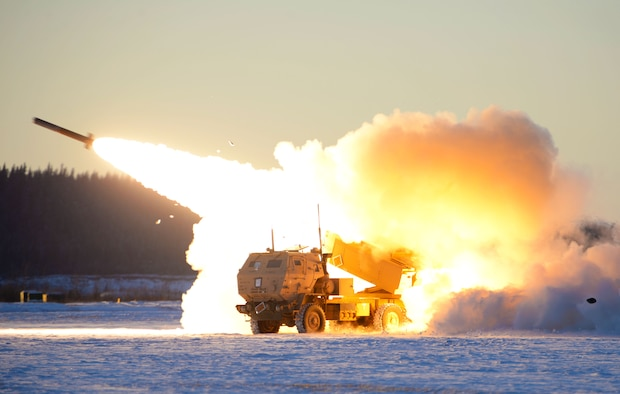 A U.S. Army M142 High Mobility Artillery Rocket Systems (HIMARS) launches ordnance during RED FLAG-Alaska 21-1 at Fort Greely, Alaska, Oct. 22, 2020. This exercise focuses on rapid infiltration and exfiltration to minimize the chance of a counterattack. (U.S. Air Force photo by Senior Airman Beaux Hebert)