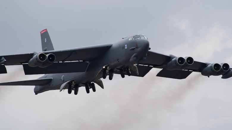A B-52H Stratofortress takes off from Barksdale Air Force Base, La., during Global Thunder 21 Oct. 23, 2020. Exercises like GLOBAL THUNDER involve extensive planning and coordination to provide unique training opportunities for assigned units and forces. (U.S. Air Force photo by Senior Airman Tessa B. Corrick)