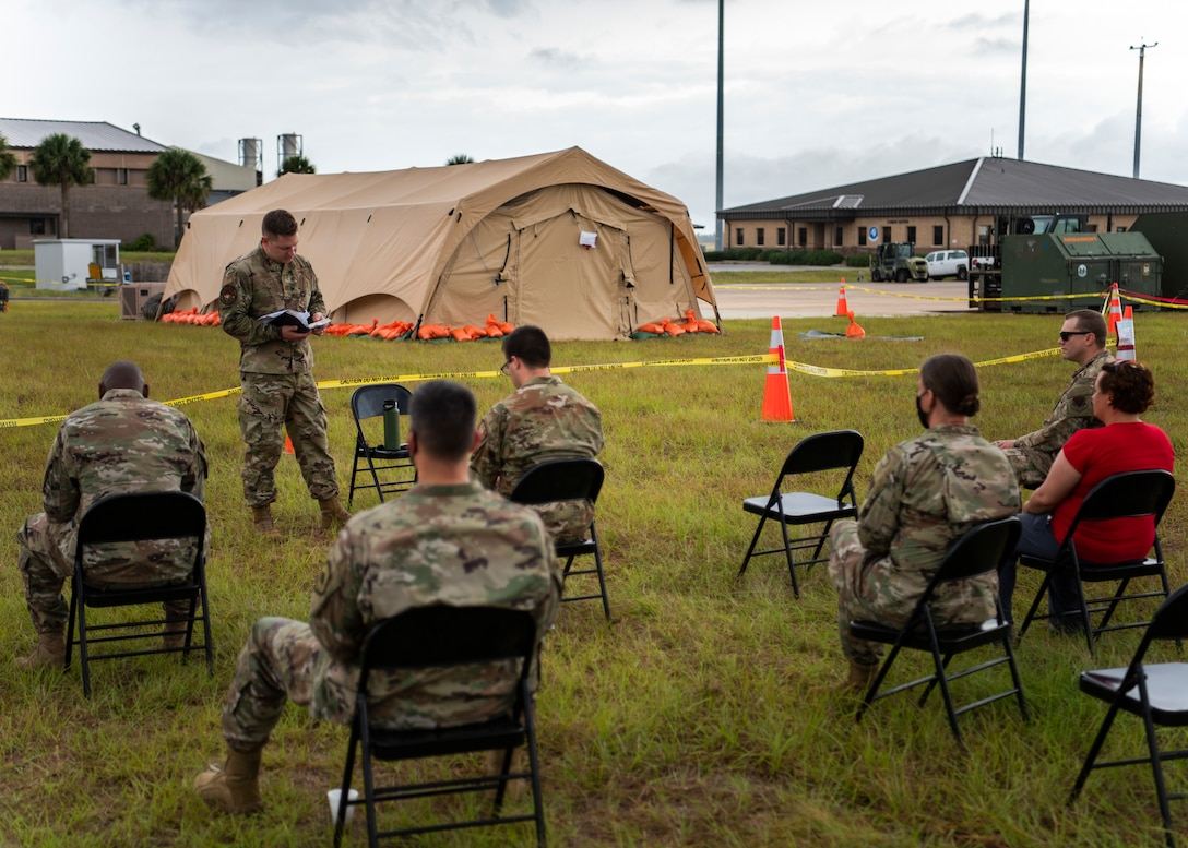 U.S. Air Force Capt. Brent Little, 366th FW chaplain, preaches during a protestant service while at Agile Flag 21-1 on Tyndall Air Force Base, Florida, Oct. 24, 2020. Agile Flag 21-1 is an experimental exercise that tests a lead Wing concept in a deployment environment. The Chaplaincy is there to provide morale, resiliency and spiritual care for whoever wants it. (U.S. Air Force photo by Senior Airman Andrew Kobialka)
