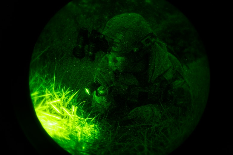 U.S. Air Force Staff Sgt. Alexander Thibodeaux, a 6th Civil Engineer Squadron (CES) explosive ordnance disposal (EOD) team lead, probes the ground for a possible simulated improvised explosive device at MacDill Air Force Base, Fla., Oct. 20, 2020.