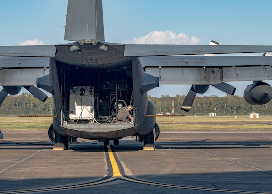 U.S. Air Force Reserve Senior Master Sgt. Mark Zickefoose, a loadmaster assigned to the 910th Operations Group, makes final adjustments on the cargo deck of a C-130H Hercules aircraft assigned to the 910th Airlift Wing, based at Youngstown Air Reserve Station, Ohio and equipped with a Modular Aerial Spray System, prior to take off from Barksdale Air Force Base, Louisiana, Oct. 22, 2020.