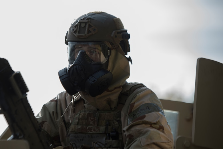 An Airman overwatches the East Gate.