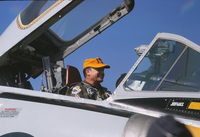 "Lt. Col. Al ""Ammo"" Amatuzio smiles from the cockpit of an F-102 after the 1970 William Tell gunnery competition held at Tyndall Air Force Base, Florida."
