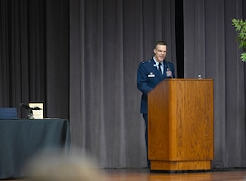 U.S. Air Force Col. Scott Wiederholt, 305th Air Mobility Wing commander, speaks to the Specialized Undergraduate Pilot Training class of 21-01 during their graduation ceremony Oct. 23, 2020, on Columbus Air Force Base, Miss. Wiederholt is a command pilot with over 4,400 hours in the C-17A, C-21A, T-1A, and T-37B, including 940 combat hours. (U.S. Air Force photo by Senior Airman Jake Jacobsen)