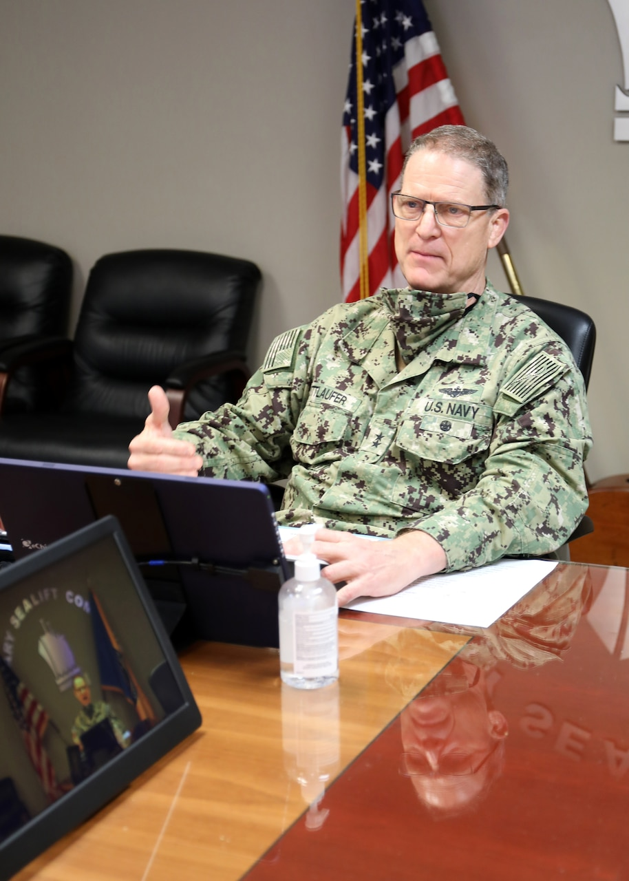 Rear Adm. Michael Wettlaufer, Commander, Military Sealift Command, addresses prospective small business and industry partners during the command's Virtual Small Business Industry Day, Oct. 22