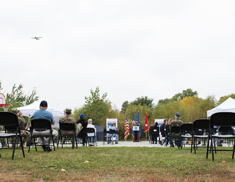 A C-130 Hercules from the 133rd Airlift Wing flies over a ceremony in Falcon Heights, Minn., Sept. 26, 2020.