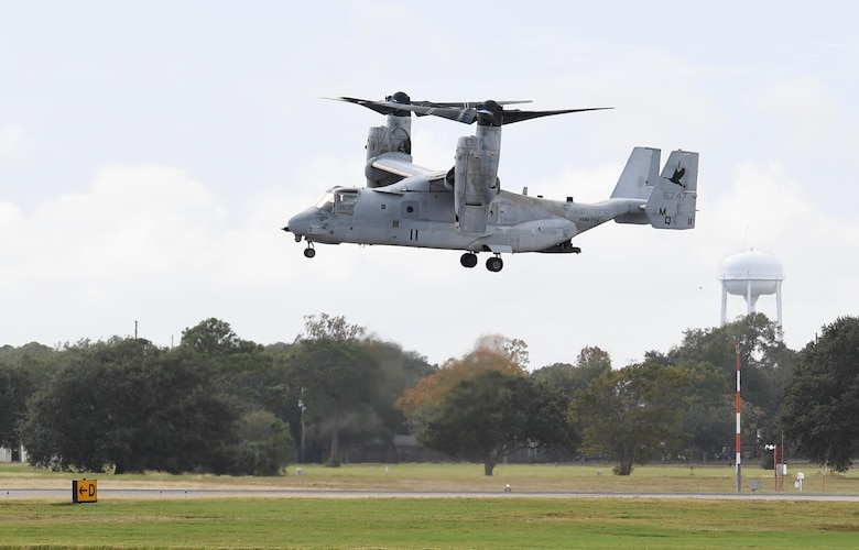 A MV-22B Osprey from the Marine Medium Tiltrotor Squadron 774, Naval Air Station Norfolk, Virginia, prepares to land on the flightline at Keesler Air Force Base, Mississippi, Oct. 23, 2020. Marines came to Keesler to conduct routine training operations in and around the Mississippi area. (U.S. Air Force photo by Kemberly Groue)