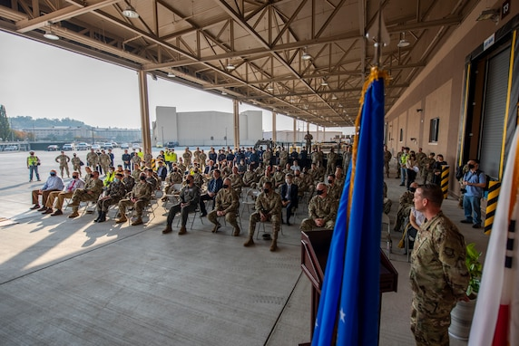 Airmen gather for a ceremony