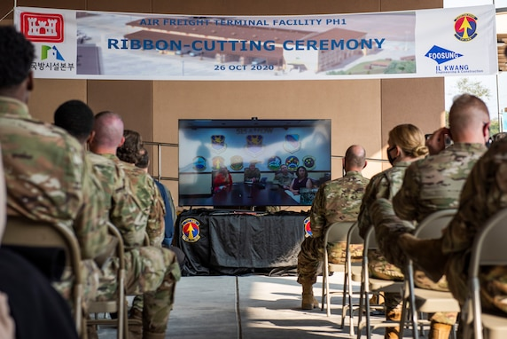 Airmen watch a live-stream