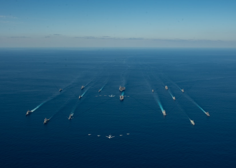U.S. Navy ships assigned to Ronald Reagan Carrier Strike Group and ships of Japan Maritime Self-Defense Force (JMSDF) kick-off exercise Keen Sword 21.