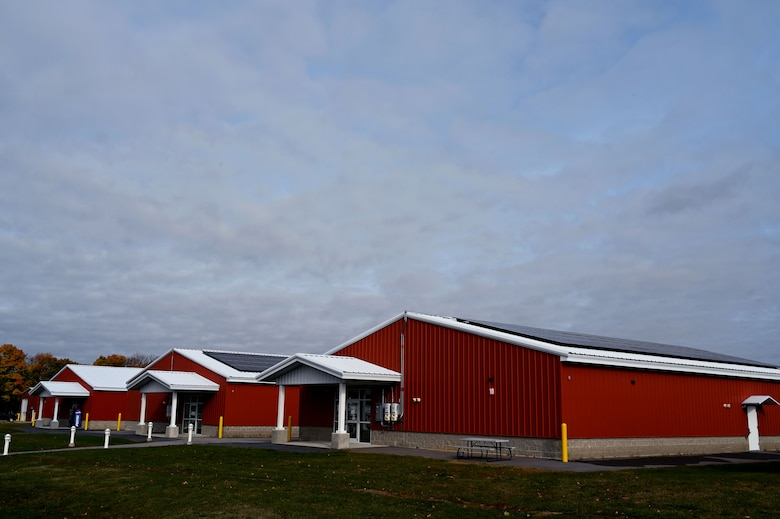 Photovoltaic panels are affixed to training facilities at the the New Hampshire National Guard Training Site in Center Strafford.