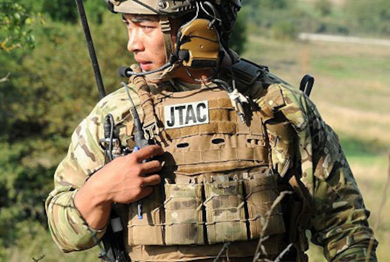 U.S. Air Force Tech. Sgt. Jermaine Capalos, 4th Combat Training Squadron joint terminal attack controller, participates in close air support training to meet JTAC qualifications.