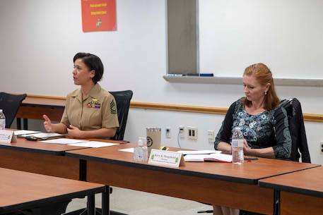The 19th Sergeant Major of the Marine Corps, Sgt. Maj. Troy E. Black, hosts a diveristy and inclusion forum at Henderson Hall, V.A., Oct. 23, 2020. The purpose of the forum was to gather strategic and operational feedback from previous sergeants major of the Marine Corps, professionals, and subject matter experts in order to develop approaches that aim to address diversity and inclusion in the Marine Corps. The feedback, discussions, ideas, and recommendations will contribute to the current and on-going efforts to look at the method and manner the Marine Corps addresses diversity and inclusion. (U.S. Marine Corps photo by Sgt. Victoria Ross)
