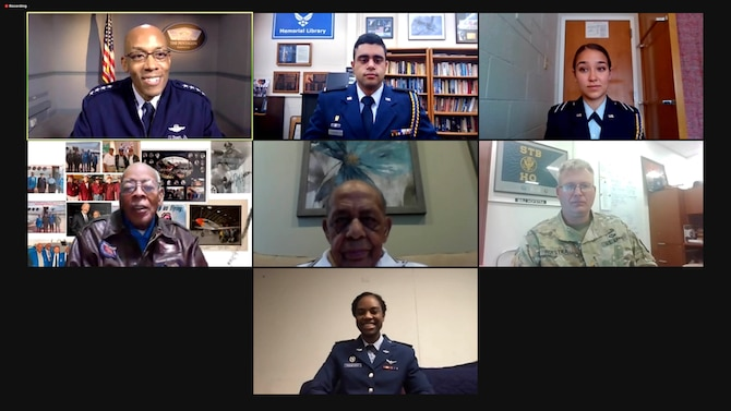Air Force Chief of Staff Gen. Charles Q. Brown, Jr. interviewed two Tuskegee Airmen, during a virtual roundtable, Oct. 20, 2020, in observance of the 75th anniversary of the end of World War II. The event was part of the American Veterans Center's 23rd Annual Veterans Conference, which will premiere on Oct. 28. (U.S. Air Force graphic)
