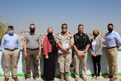 Medical professionals from the 3rd Medical Command (Deployment Support) and Area Support Group-Jordan pose for a photo with their Jordanian host following their subject matter expert exchange earlier this month. The 3 MCDS and Jordanian Royal Medical Services met over four days to discuss interoperabilities, with special focus on COVID-19 response and requirements.