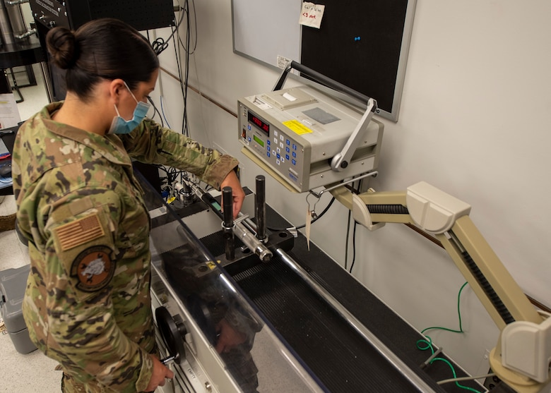 Airman 1st Class Nikki Silvestri, 4th Component Maintenance Squadron physical dimensional technician, calibrates a digital torque wrench using a CDI multi torque station at Seymour Johnson Air Force Base, North Carolina, Oct. 19, 2020.