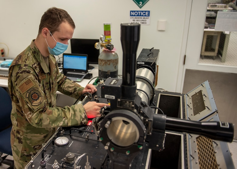 Staff Sgt. Tucker Rampton, 4th Component Maintenance Squadron electronics supervisor, uses a guidance control section (GCS) test set at Seymour Johnson Air Force Base, North Carolina, Oct. 19, 2020.