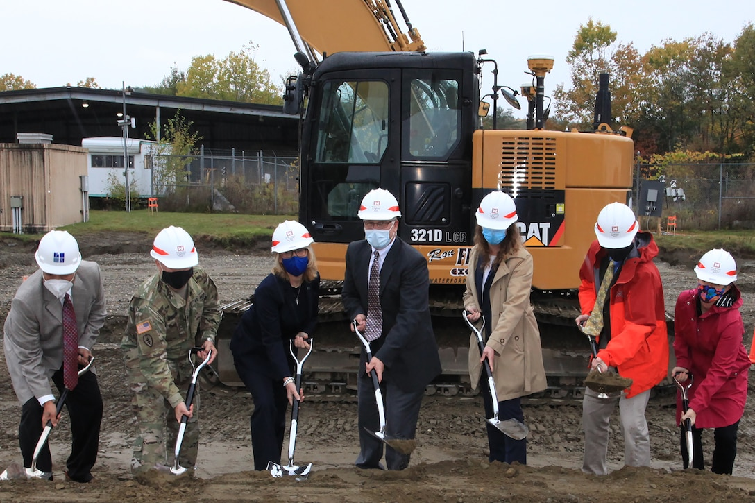 Honored guests break ground at a ceremony for the U.S. Army Engineer Research and Development Center Cold Regions Research and Engineering Laboratory's new Climatic Chamber Building in Hanover, New Hampshire on Oct. 16, 2020. (Left to right) #### ####, U.S. Army Corps of Engineers New England District Commander Col. John A. Atilano II, U.S. Sen. Maggie Hassan, CRREL Director Dr. Joseph Corriveau, New England District Project Manager Caitlin Slattery, Colby Company Engineering President Calen Colby and Colby Company Engineering Chief Executive Officer Sarah Emily Colby. The new Climatic Chamber Building will serve as a Material Evaluation Facility, providing a critical means to examine and test extreme cold-weather environments to develop and validate Army field materiel, which is required for Soldier and unit readiness.