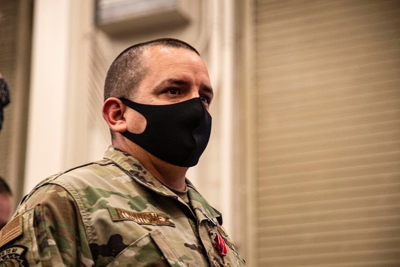 Master Sgt. Joe Rodriguez, 726th Air Control Squadron RF transmissions systems NCOIC, poses for a photo, at Mountain Home Air Force Base, Idaho, Oct. 9, 2020. Rodriquez was deployed to Asad Airbase, Iraq for nine months, and faced a multitude of challenges while there, including seven rocket attacks. (U.S. Air Force Photo by Airman 1st Class Eric Brown)