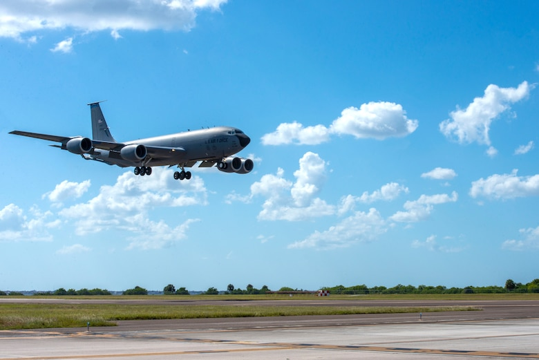 A 50th Air Refueling Squadron KC-135 Stratotanker aircraft returns home at MacDill Air Force Base, Florida, Oct. 18, 2020, from a two-month deployment at Al Udeid Air Base, Qatar.