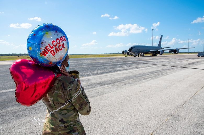 U.S Air Force Master Sgt. Tashara Eiland, a 50th Air Refueling Squadron squadron aviation records management NCO in charge, awaits a 50th ARS Airman at MacDill Air Force Base, Florida, Oct. 18, 2020, from a two-month deployment at Al Udeid Air Base, Qatar.