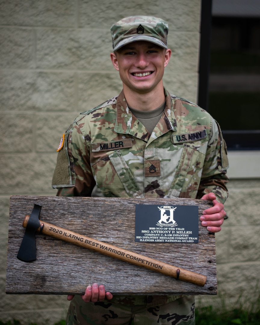 Staff Sgt. Anthony Miller, of Glen Carbon, Illinois, an 11B Infantryman, with Company C, 2nd Battalion, 130 Infantry Regiment, based in Litchfield, Illinois, won the Illinois Army National Guard Best Warrior Competition at the Marseilles Training Center, Marseilles, Illinois, July 9-12