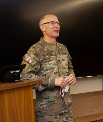 Newly promoted Col. Michael Eastridge, of Northville, Michigan, Commander of the Illinois Army National Guard's 33rd Infantry Brigade Combat Team,