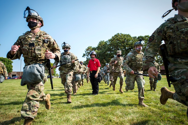 U.S. Air Force Airmen from the 133rd Airlift Wing participate in civil disturbance control training strengthening partnerships between local law enforcement and the Minnesota Air National Guard in St. Paul, Minn., Sept. 19, 2020.