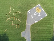 An aerial view of the hay-baled obstacle course.