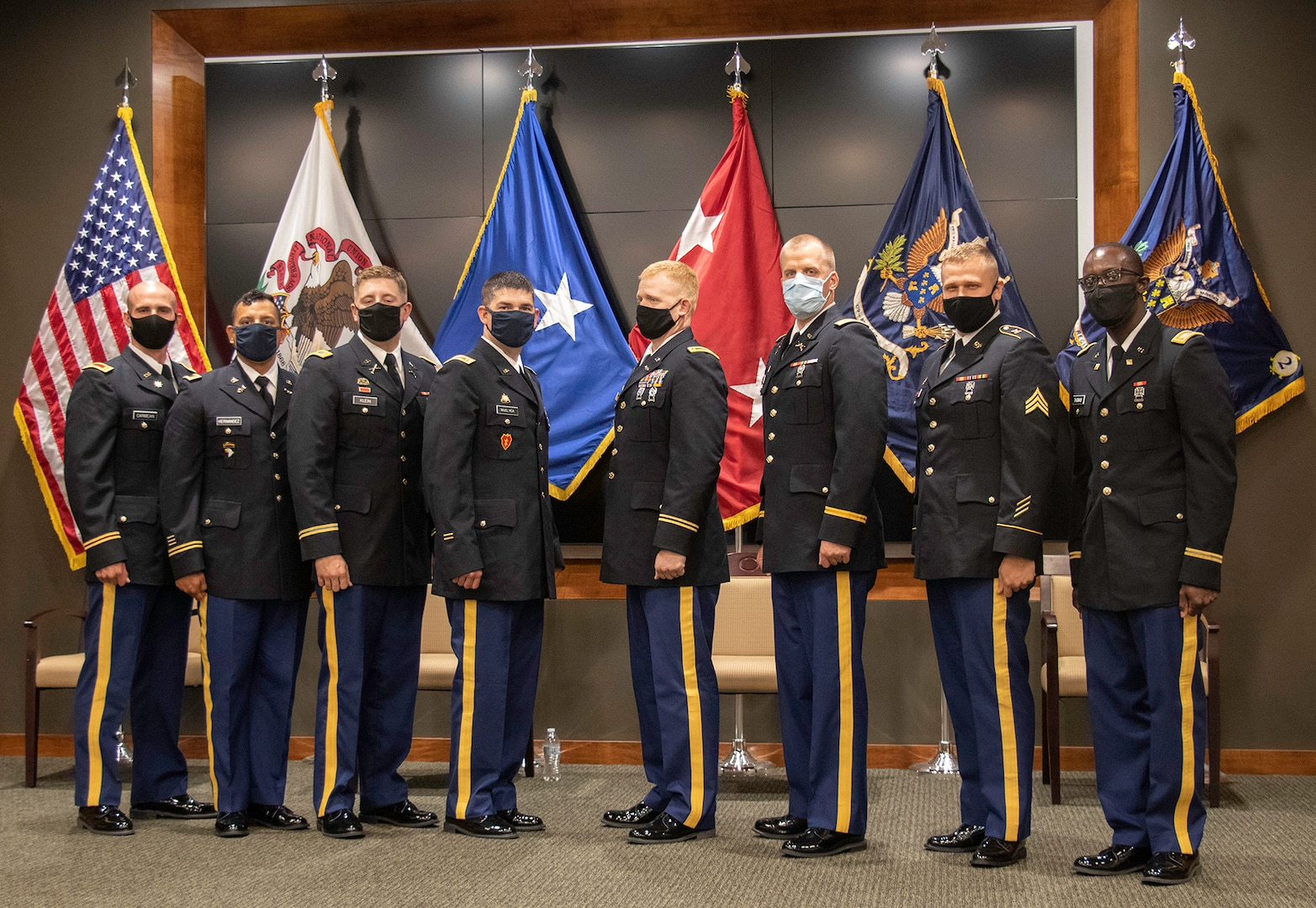 Eight Illinois Army National Guard Soldiers graduated from the ILARNG Officer Candidate School during a ceremony Aug. 23 at the Illinois Military Academy, Camp Lincoln, Springfield, Illinois.