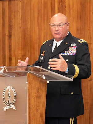 Maj. Gen. Michael Zerbonia, of Chatham, Illinois, Assistant Adjutant General-Army and Commander, Illinois Army National Guard, offers advice to the newly commissioned second lieutenants during the Illinois Army National Guard Officer Candidate School Commissioning ceremony Aug. 23 at the Illinois Military Academy, Camp Lincoln, Springfield, Illinois.