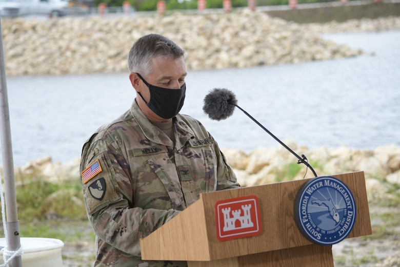 U.S. Army Corps of Engineers Jacksonville District Commander Col. Andrew Kelly speaks at the Central Everglades Planning Project South groundbreaking ceremony today. Federal and state agency partners gathered to celebrate the first contract designed to improve flows south to Everglades National Park. (USACE photo by Mark Rankin)