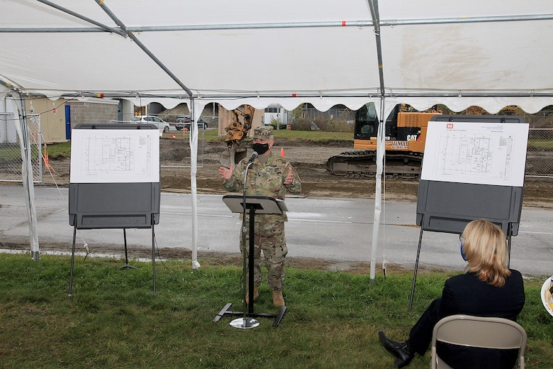 At a groundbreaking ceremony for the U.S. Army Engineer Research and Development Center Cold Regions Research and Engineering Laboratory's new Climatic Chamber Building, U.S. Sen. Maggie Hassan thanks CRREL researchers and scientists for developing means of safety and security for the nation through their research of harsh climate studies, in Hanover, New Hampshire, Oct. 16, 2020.