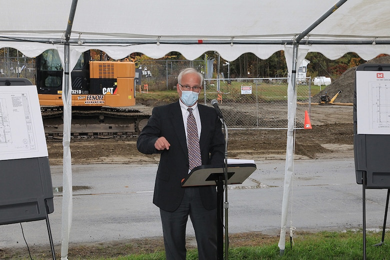 At a groundbreaking ceremony for the U.S. Army Engineer Research and Development Center Cold Regions Research and Engineering Laboratory's new Climatic Chamber Building, CRREL Director Dr. Joseph Corriveau reads letters sent by New Hampshire Rep. Ann Kuster, and U.S. Sen. Jeanne Shaheen, who could not attend the event but sent their congratulations to the lab for the new facility, in Hanover, New Hampshire, Oct. 16, 2020.