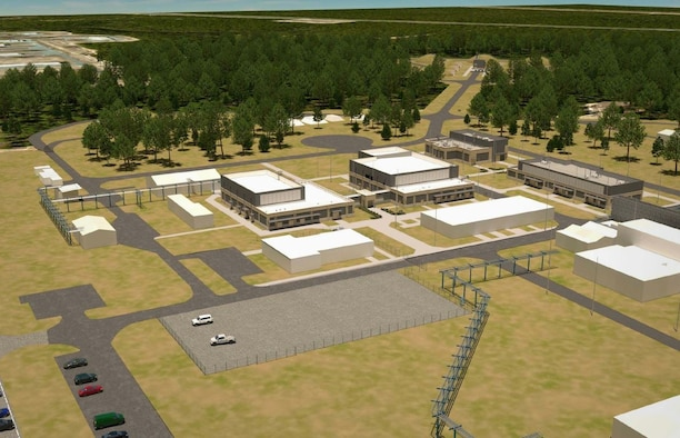 An artist's rendering of the overall site perspective of the Advanced Munitions Technology Complex at Eglin AFB, Florida.