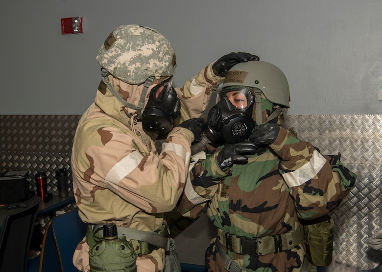 U.S. Air Force Airmen assigned to 725th Air Mobility Squadron conduct gear inspection during exercise Nodal Lightning 20-2.