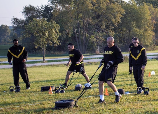 Illinois Army National Guard non-commissioned officers and officers complete the spring-drag-carry event in the Army Combat Fitness Test