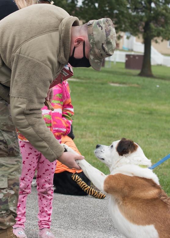 Airman 1st Class Jonathan Russell, 509th Civil Engineer Squadron firefighter, shakes hands with Rocky, a Saint Bernard heeler dog before giving him a treat.