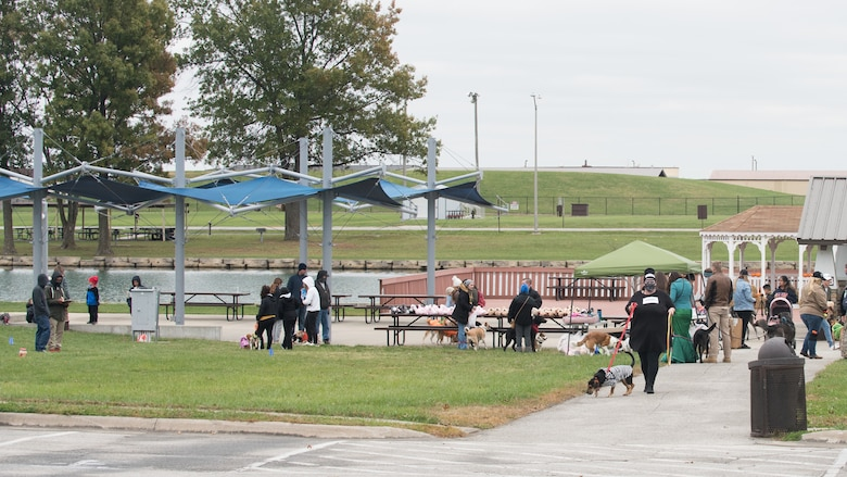 Members of Team Whiteman and their dogs participate in various activities during the Bark in the Park at the Ike Skelton Lake.