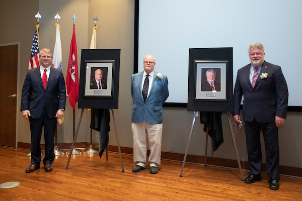 "Dr. David Pittman, director of the U.S. Army Engineer Research and Development Center, stands with Dr. William ""Bill"" Martin and Dr. Reed Mosher, the newest inductees to the Waterways Experiment Station Gallery of Distinguished Employees at a ceremony, Oct. 15, 2020."