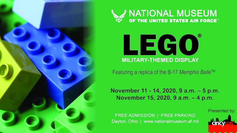 Pile of LEGO bricks next to text that reads: LEGO military-themed display; Featuring a replica of the B-17 Memphis Belle.