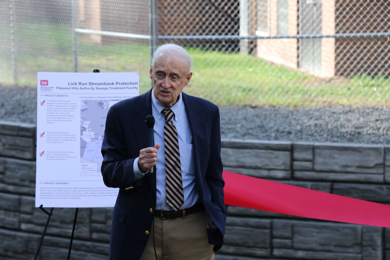 The U.S. Army Corps of Engineers Pittsburgh District, in partnership with Pleasant Hills Authority, hosted a ribbon-cutting ceremony on Oct. 21 to signify the completion of the Streambank Protection Project.