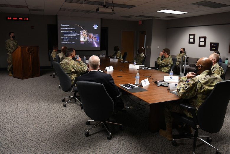 U.S Air Force Chief of Staff Gen. Charles Q. Brown, Jr., receives a mission overview brief from members of the 576th Flight Test Squadron about the Minuteman III intercontinental ballistic missile test launch during a base visit Oct. 27, 2020, at Vandenberg Air Force Base, Calif.