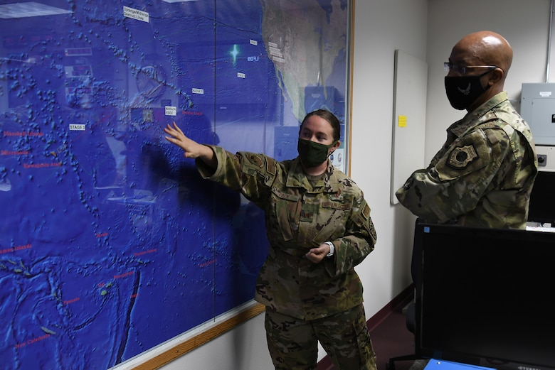 U.S Air Force Chief of Staff Gen. Charles Q. Brown, Jr., receives a briefing from Capt. Morgan Pack, 576th Flight Test Squadron intercontinental ballistic missile test operator, during a tour Oct. 27, 2020, at Vandenberg Air Force Base, Calif.