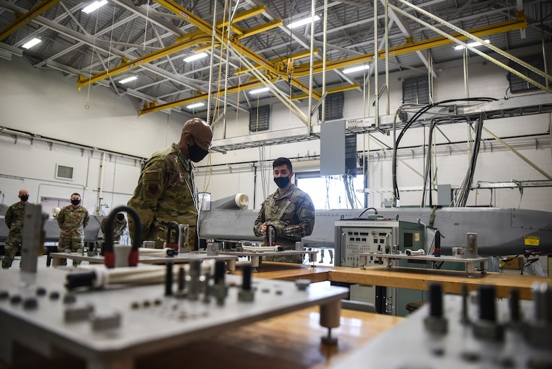 U.S Air Force Chief of Staff General Charles Q. Brown Jr. visits the 532th Training Squadron training bay Oct. 27, 2020, at Vandenberg Air Force Base, Calif. Vandenberg AFB hosts the only space technical schools, as well as being one of two U.S. Space Force operational ranges. The base's unique units are critical to the nation's security, economic prosperity and scientific knowledge. Spacelift operations at the West Coast launch base provide services, facilities and range safety control for the conduct of DOD, NASA and commercial space launches.  (U.S. Space Force photo by Senior Airman Hanah Abercrombie)