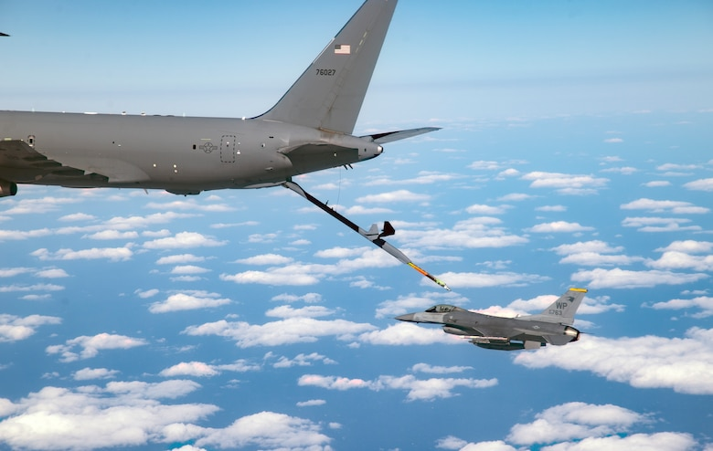 931st ARW KC-46A flies over the Republic of Korea
